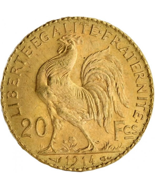 20 Francs Coq OR 1914 France