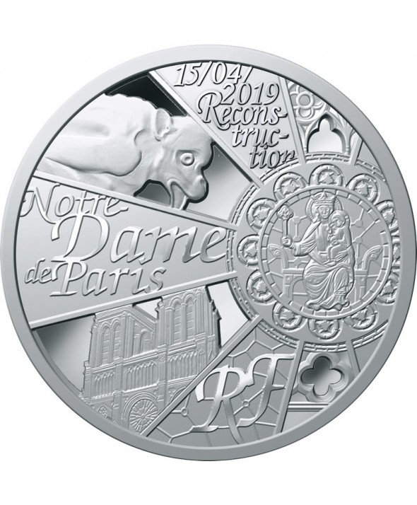 Reconstruction Notre Dame de Paris  10 Euros Argent BE FRANCE 2019 (MDP)
