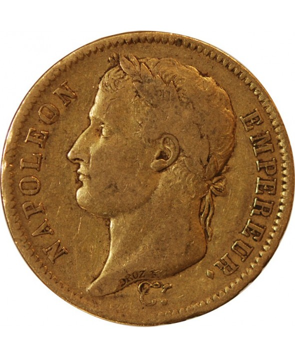 "NAPOLEON Ier - 40 FRANCS OR 1808 H LA ROCHELLE ""Type République"""