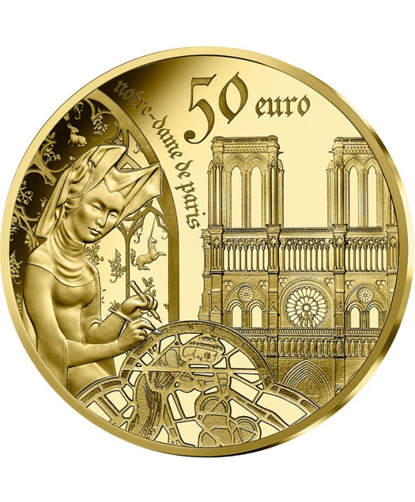 Notre Dame de Paris & l'Epoque Gothique - Europa Star 50 Euros Or BE FRANCE 20 (MDP)