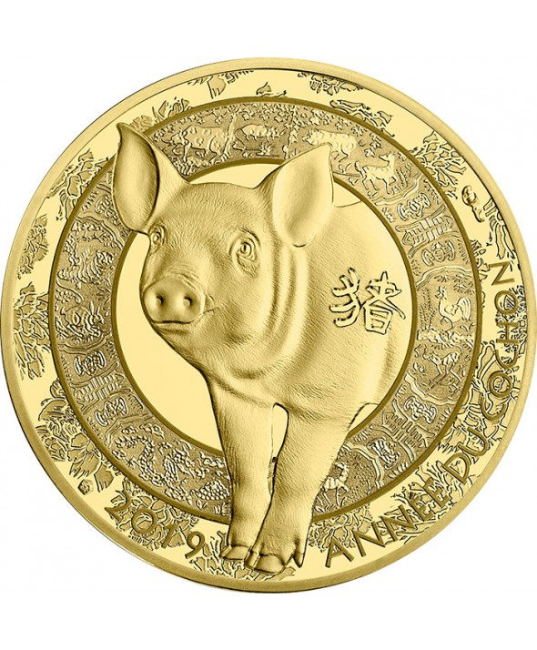50 Euros 1/4 Oz Or BE FRANCE 2019 Année du cochon
