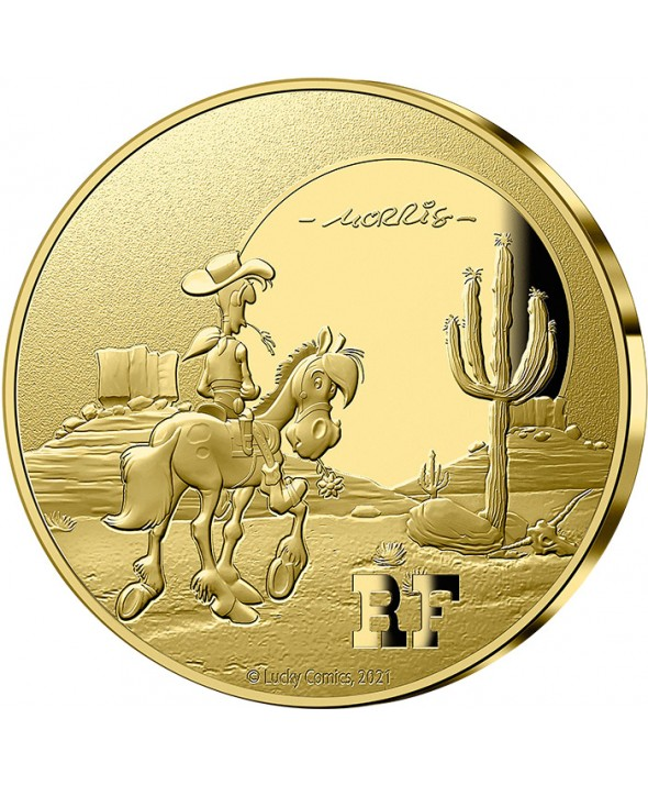 Lucky Luke au soleil couchant - 100 Euros OR (1/2 Oz) BE 2021 FRANCE (MDP)
