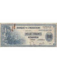 1000 Francs, Statues d'Angkor - Surcharge Tahiti 1954 Série X.2