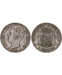 5 Pesetas Amadeo I - Armoiries - 1871 (74) - DE-M
