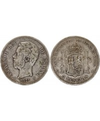 5 Pesetas Amadeo I - Armoiries - 1871(71) - SD-M