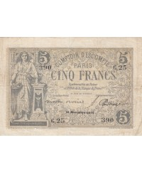 5 Francs Comptoir Escompte de Paris - 1871 - G.25