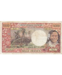 1000 Francs ND1977 - Tahitienne, Hibiscus, paysage, cerf - Sign 3A