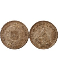 CHILI - 1 PESO ARGENT 1874 So