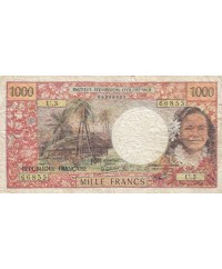 1000 Francs ND1977 - Tahitienne, Hibiscus, paysage, cerf - Sign3A