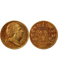 LOUIS XVIII - 20 FRANCS OR 1819 W LILLE