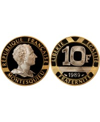 "MONTESQUIEU - 10 FRANCS OR 1989 ""Frappe BE"""