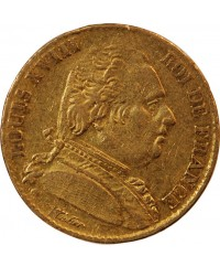 LOUIS XVIII - 20 FRANCS OR 1814 W LILLE