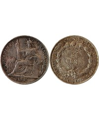 INDOCHINE FRANCAISE - 20 CENTIMES ARGENT 1885 A