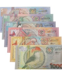 Lot 6 billets 5 à 1000 Gulden SURINAME