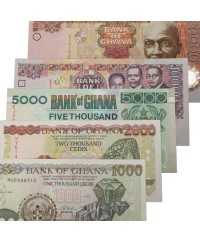Lot 5 billets 1000 à 20000 Cedis GHANA 2001 à 2006