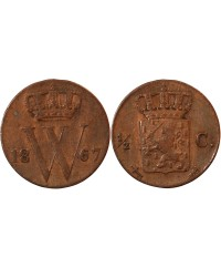 PAYS-BAS, WILLEM III - 1/2 CENT 1867