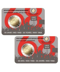 Lot 2 x 2€ Com. Belgique 2018 (Wallon + Flamand) - 50 ans Mai 1968