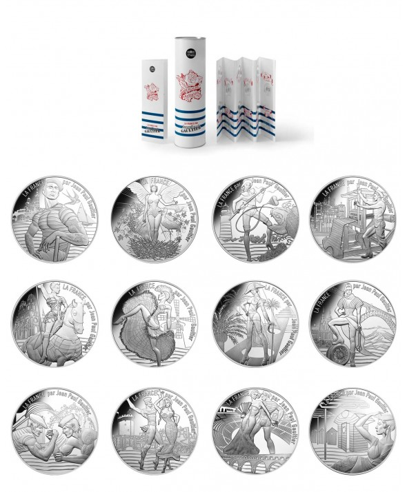 Les 12 x 10 Euros Argent France 2017 EN COFFRET COLLECTOR - La France par J.-P. Gaultier (Vague 1)