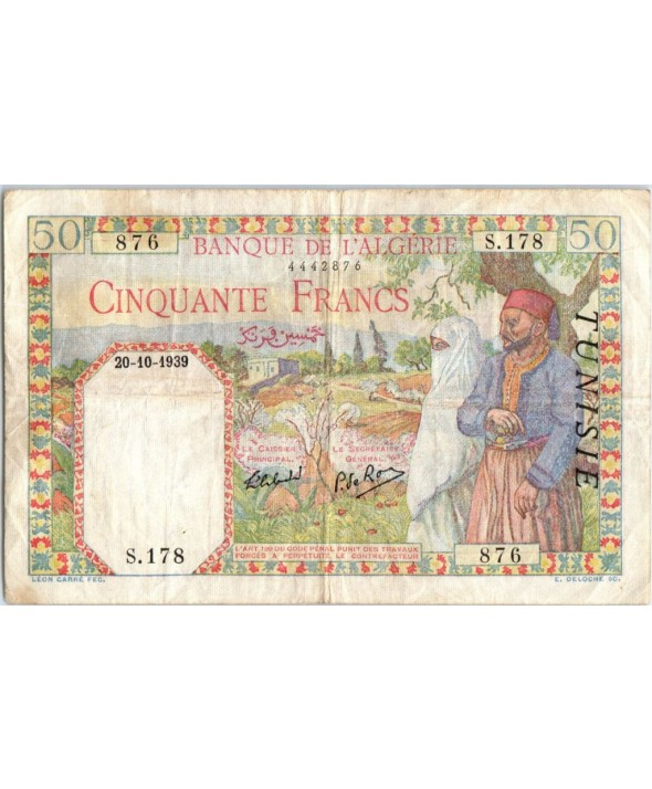 Tunisie 50 francs Couple traditionnel - 1939