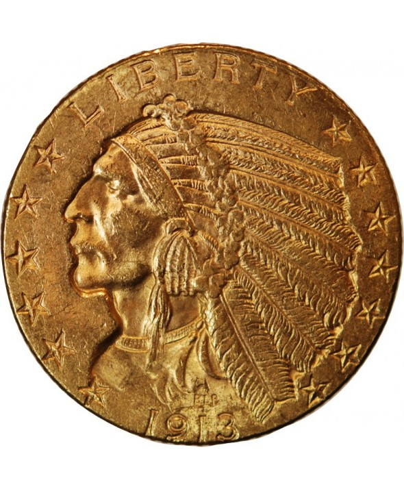 USA, INDIEN - 5 DOLLARS OR 1913