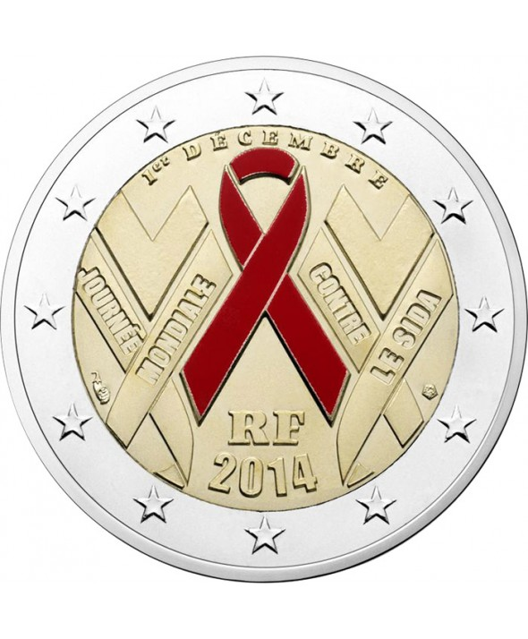 2 Euros BU Commémo. FRANCE 2014 - Sidaction