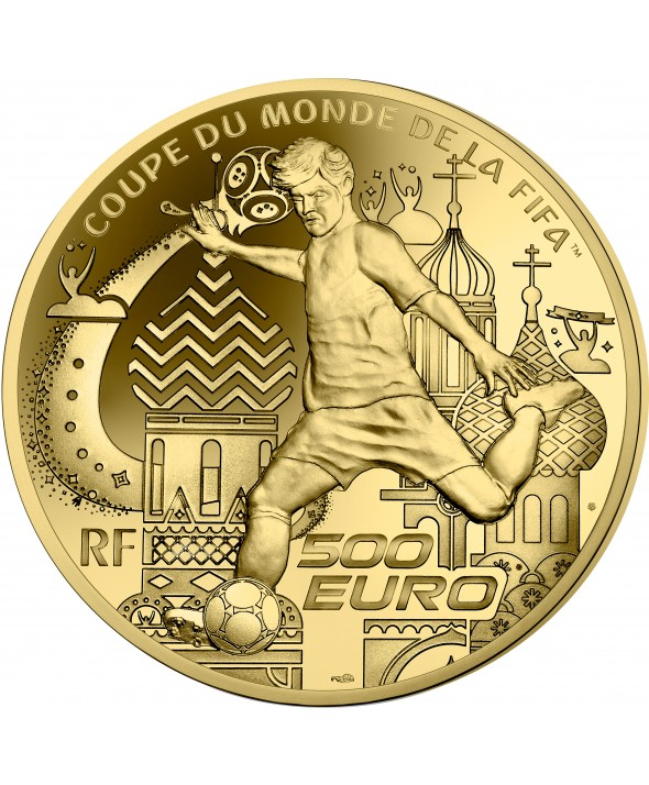 COUPE DU MONDE FOOTBALL FIFA RUSSIE 500 Euros Or BE FRANCE 2018 (MDP)