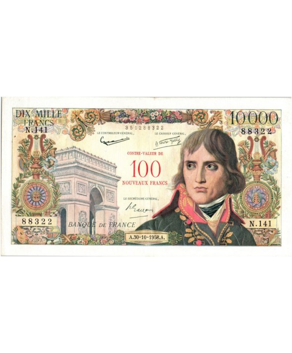 France 100 NF sur 10000 Francs - Bonaparte - 1958 N.141