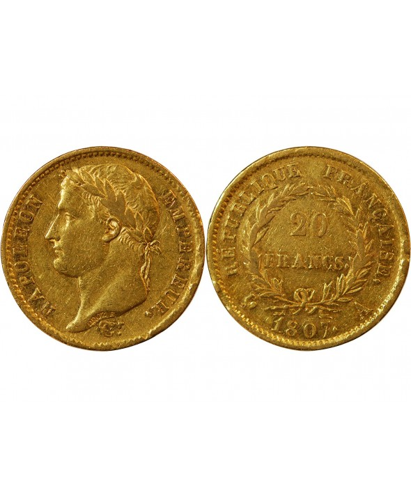 "20 FRANCS OR NAPOLEON Ier 1807 A PARIS ""Type République"""