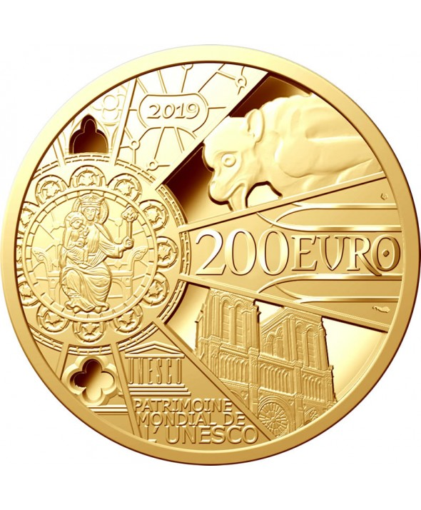 Reconstruction Notre Dame de Paris - 200 Euros OR (1 Oz) BE 2019 FRANCE (MDP)