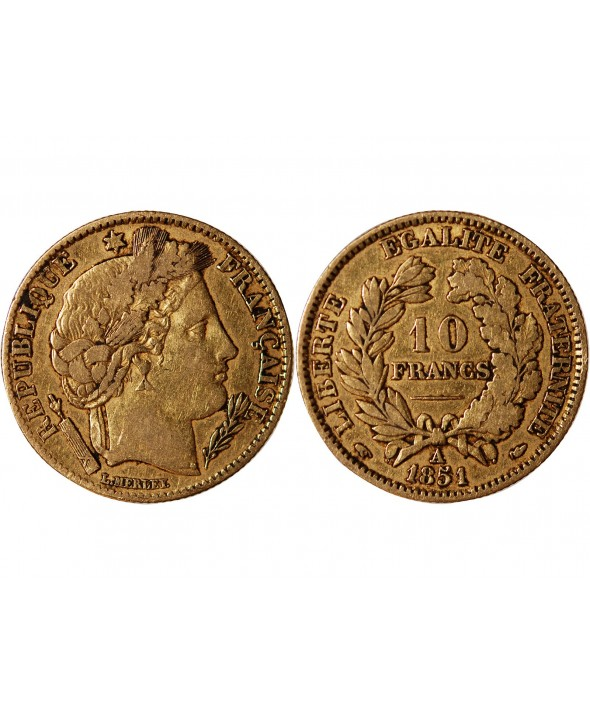 CERES - 10 FRANCS OR 1851 A PARIS