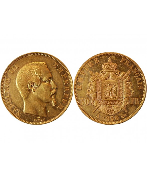 NAPOLEON III - 50 FRANCS OR 1858 A PARIS