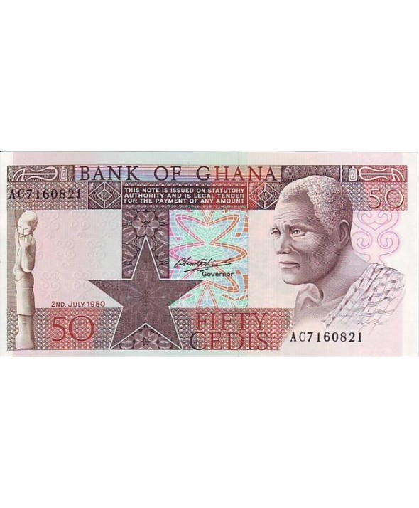 50 Cedis, Statue - Homme, cacao