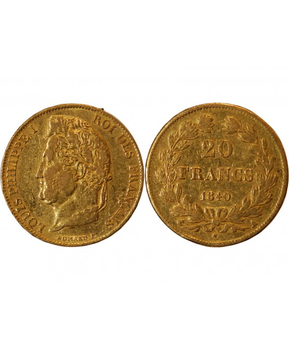 LOUIS PHILIPPE Ier - 20 FRANCS OR 1840 A PARIS