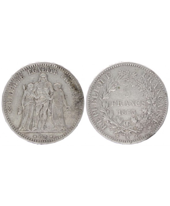 France 5 Francs Hercule - III e République 1873 K Paris - Argent