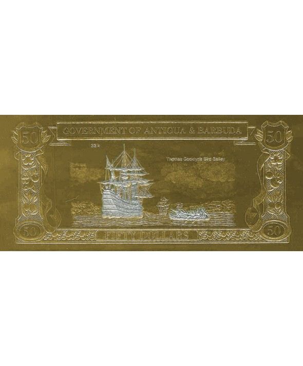 Billet en Or Antigua & Barbuda - 50 Dollars 1988 Thomas Cooklyn et le Bird Galley