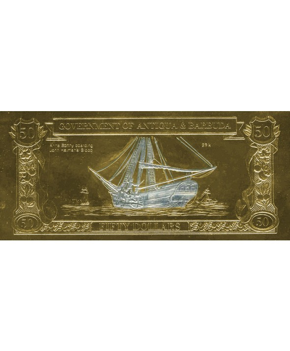 Billet en Or Antigua & Barbuda - 50 Dollars 1988 Anne Bonny à l'abordage du Sloop de John Halman