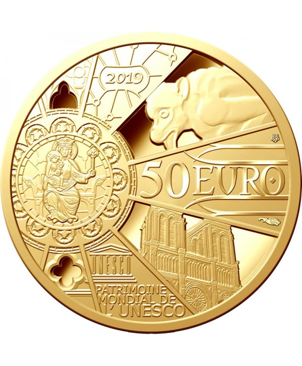 Reconstruction Notre Dame de Paris - 50 Euros OR (1/4 Oz) BE 2019 FRANCE (MDP)