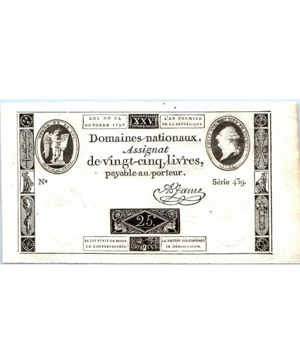 France 25 Livres Louis XVI (24-10-1792) - Sign. Jame