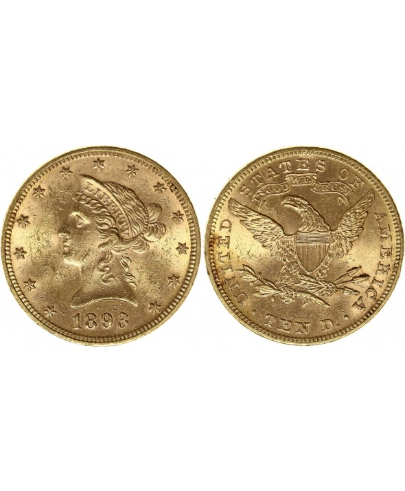 10 Dollars Liberty - Aigle Coronet Head - 1893 Or