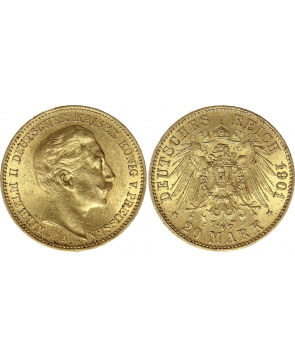 20 Mark Wilhelm II - Aigle Impériale 1901 A Berlin - Or