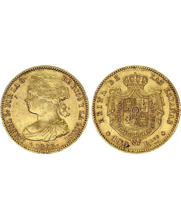 100 Reales Isabelle II - Armoiries - 1863 - Séville - Or