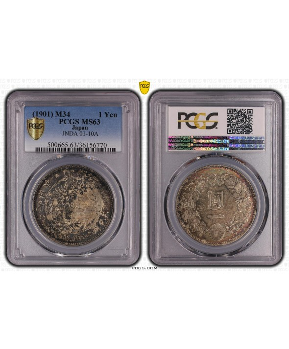 1 Yen Dragon  - 1901 M34- PCGS MS 63