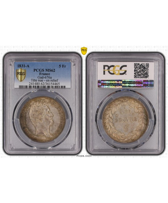 5 Francs Louis-Philippe 1er - 1831 A - PCGS MS 62