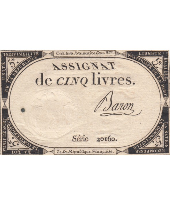 5 Livres 10 Brumaire An II (31-10-1793) - Sign. Baron