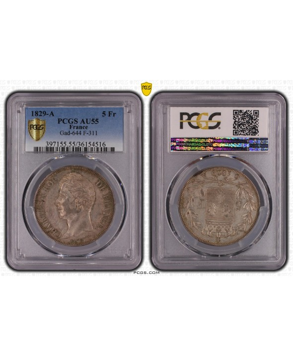 5 Francs Charles X - 2nd type - 1829 A - PCGS AU 55
