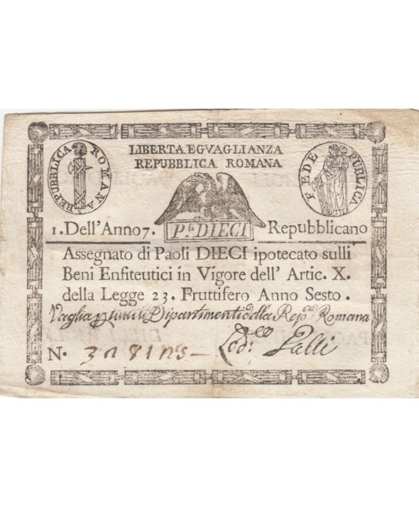 10 Paoli Aigle, Anno 7 - 1798 - Rectangle - 3ex