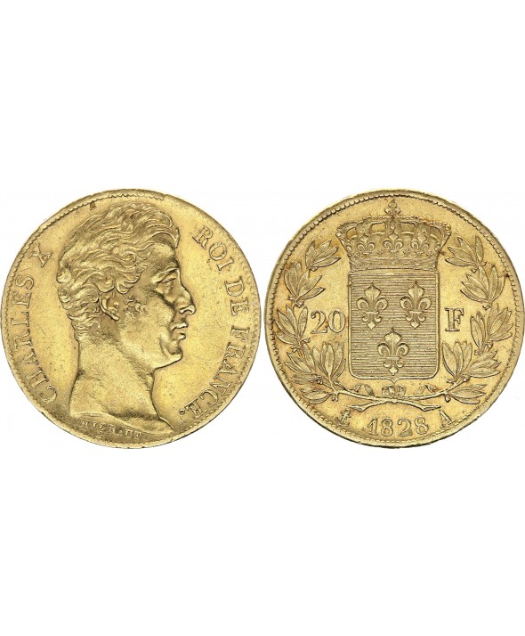 20 Francs Charles X - 1828 A - Or