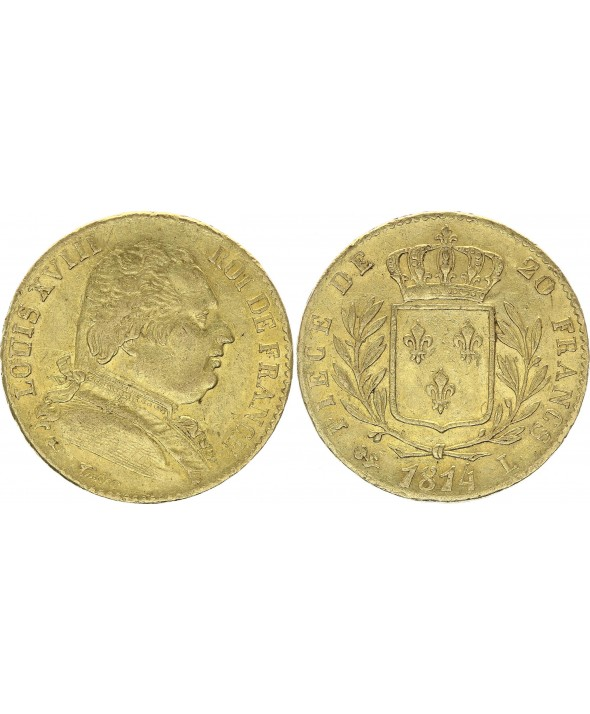 France 20 Francs Louis XVIII - 1814 L Bayonne