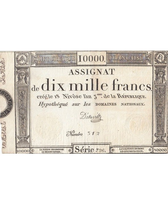 France 10000 Francs 18 Nivose An III - 7.1.1795 - Sign. D'Osseville