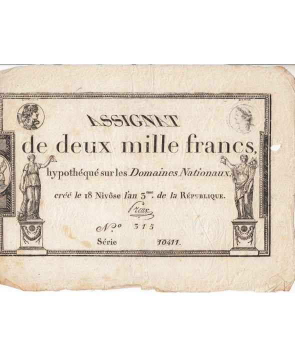 France 2000 Francs 18 Nivose An III - 7.1.1795 - Sign. Preux